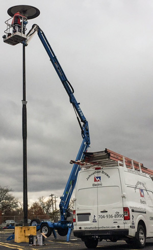 Lift Truck for Changing Parking Lot Lights